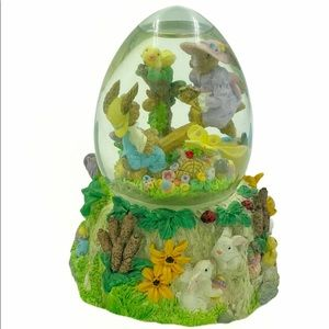 Easter Bunny Scene Musical Snow Globe Egg Shape